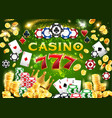 casino chips poker cards 777 and gold coins vector image vector image