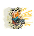 caucasian male athlete in a wheelchair punches the vector image vector image
