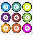 CD or DVD icon sign Nine multi-colored round vector image vector image