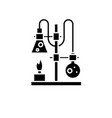chemistry lab black icon sign on isolated vector image vector image