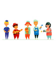 children in career costumes - colorful set vector image
