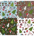 christmas seamless pattern setwinter doodles vector image