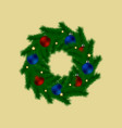 christmas wreath with baubles and stars vector image