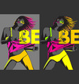 color fashion woman neon lights rainbow make-up vector image vector image