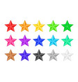 colored star icons for rank or rating vector image vector image