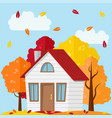 country house in the autumn forest vector image vector image