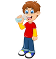 cute boy cartoon drinking water vector image vector image