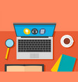 desktop laptop learning background flat style vector image