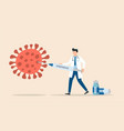 doctor with vaccine syringe killing covid-19 vector image
