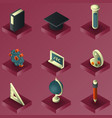 eucation color gradient isometric set vector image
