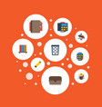 flat icons phone highlighter trash basket and vector image vector image