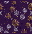 gold and violet snowflakes luxury seamless pattern vector image vector image