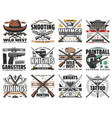 guns and swords weapon retro icons set vector image