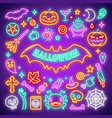 halloween neon icons set vector image