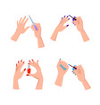 hands with bright neat manicure set vector image vector image