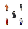 isometric people set of detective female cleaner vector image vector image
