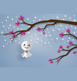 japanese paper doll against rain vector image vector image