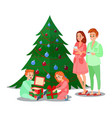 kids opens christmas gifts happy family vector image vector image