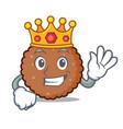 king chocolate biscuit mascot cartoon vector image vector image
