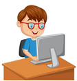 little boy with personal computer vector image