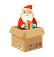 logistic santa claus with a gift vector image vector image
