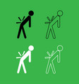 man a with sick back backache icon black and vector image vector image