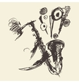 Man playing saxophone drawn sketch vector image vector image