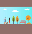 man waking in park with pet dog woman autumn vector image vector image