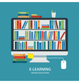 online library education concept flat design vector image vector image