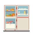outdoor refrigerator with food products icon vector image