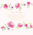 pink rose flower wedding card vector image vector image