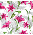 realistic pink lily blossom leaves stem set vector image vector image