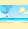 sea or ocean landscape beach with lighthouse