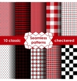 Set of checkered simple fabric seamless pattern vector image vector image
