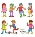 set of happy cartoon kids vector image vector image