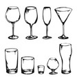 sketch of drink glasses vector image