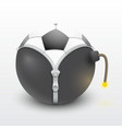 soccer ball inside a burning bomb vector image vector image