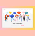 social network landing page template characters vector image vector image