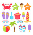 summer elements set isolated on white vector image vector image