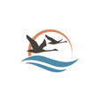 swans and waves icon vector image vector image