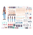 teenage girl constructor or animation kit set of vector image vector image