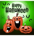 Three pumpkins laugh in a green background vector image