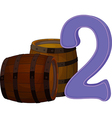 Two wooden barrels vector image vector image