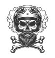 vintage monochrome motorcyclist skull vector image vector image