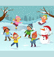 winter outdoor activities with kids and snowman vector image vector image