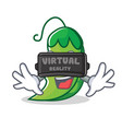 with virtual reality peas mascot cartoon style vector image vector image