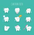 cute cartoon tooth set baby teeth health vector image