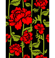 Red Roses on long stems Seamless pattern of vector image