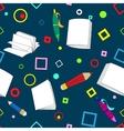 School notes seamless pattern on dark blue vector image