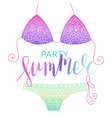 summer bikini flyer with lettering vector image